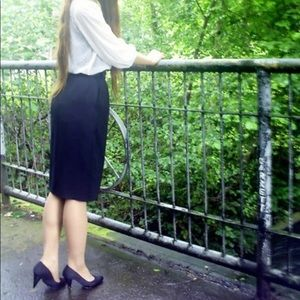 80's Vintage Wool Pencil Skirt